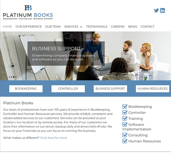 Platinum Books website designed by 6P Marketing