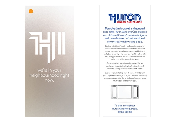 Direct mail designed by 6P Marketing for Huron Windows