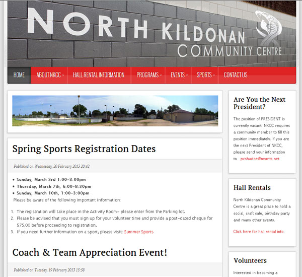 North Kildonan Community Centre website designed by 6P Marketing