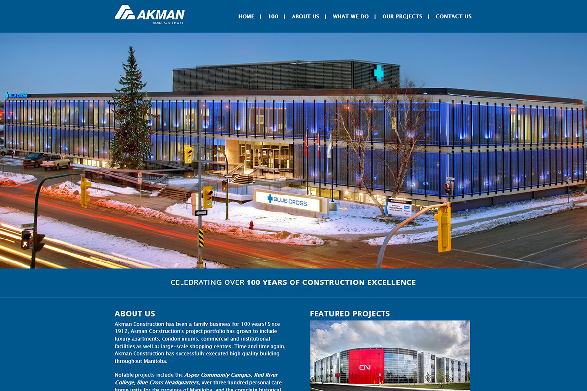 Akman Construction website designed by 6P Marketing