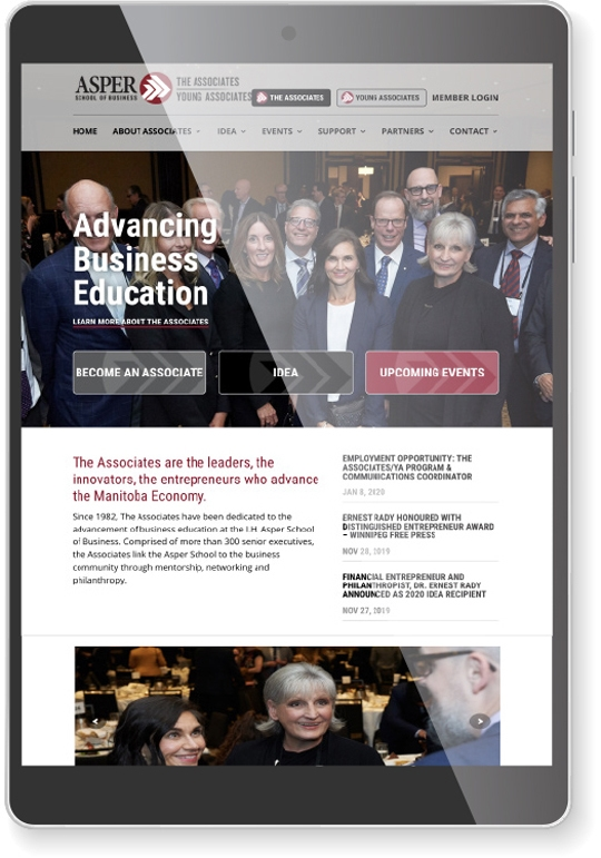 New websites built for The Associates and Young Associates which showcases both groups as a unifed brand