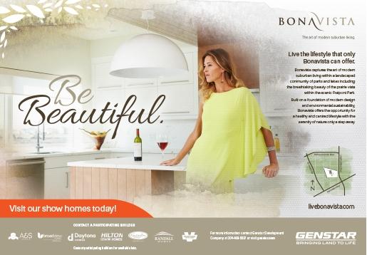 Print ad for Genstar's Bonavista community for Parade of Homes magazine and for The Winnipeg Free Press
