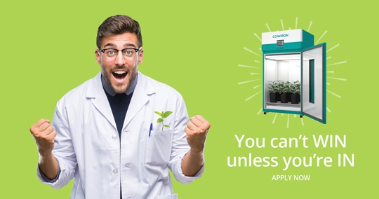 Facebook campaign designed by 6P Marketing features a male scientitst with plant-growth chamber