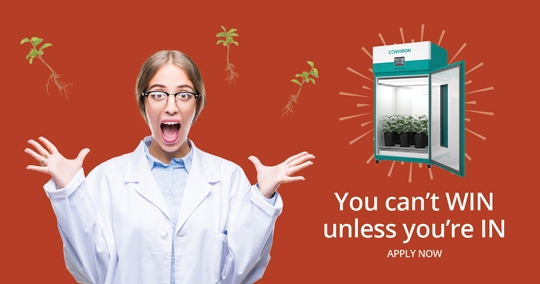 Facebook campaign designed by 6P Marketing for Conviron features a female scientitst with plant-growth chamber