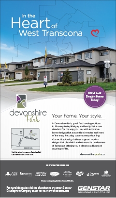 Print ad for Genstar's Devonshire Park community for Parade of Homes magazine and for The Winnipeg Free Press