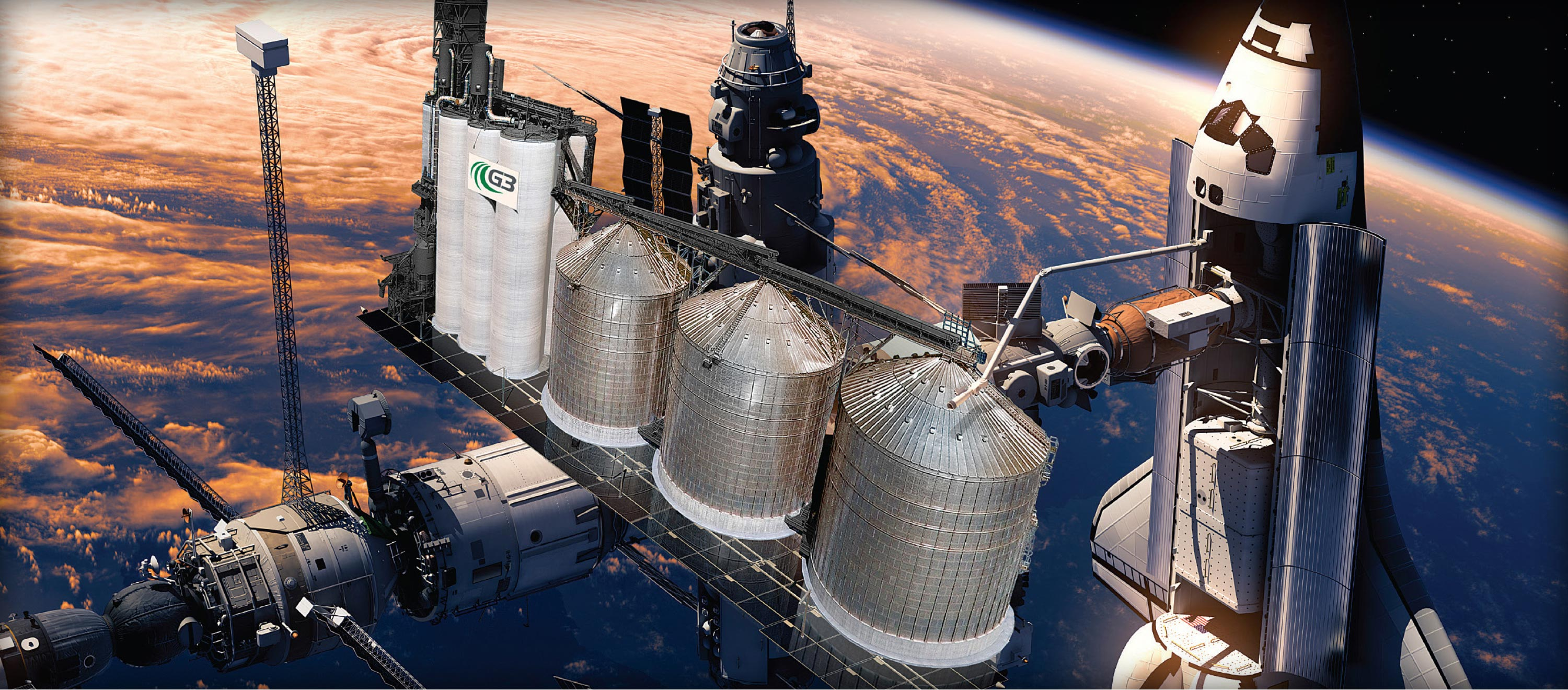 G3's Go Beyond Conventional campaign used grain elevators depicted as space-shuttle launching stations