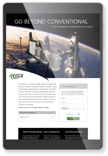 Landing page designed by 6P Marketing for G3's Go Beyond Conventional multimedia campaign