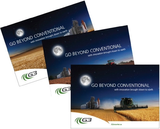 Printed marketing collateral for G3's Go Beyond Conventional campaing features starry backgrounds over grain fields