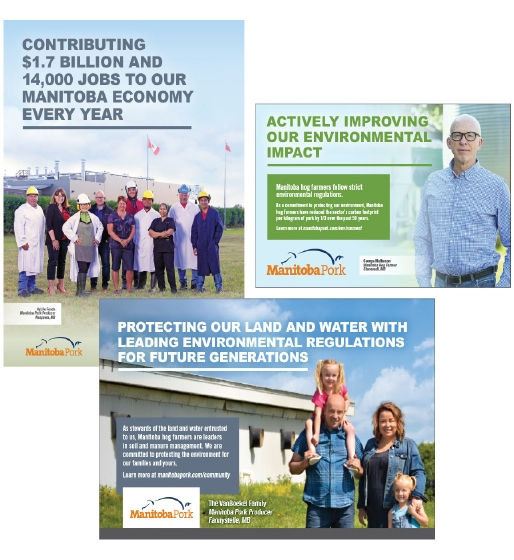 Google display ads for Manitoba Pork used sustainability-related topics: the economy, the environment, animal care, and food