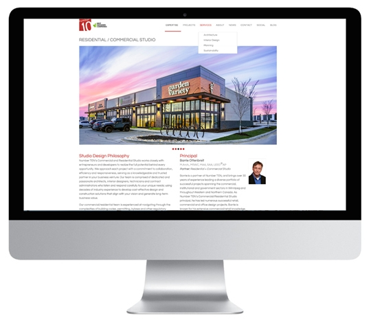 An effective website design by 6P Marketing allows Number TEN to present the firm, project portfolio, and service advantage