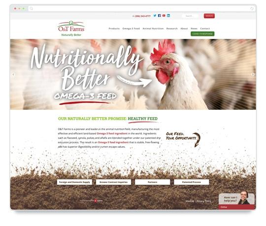 Website designed by 6P Marketing for O&T Farms
