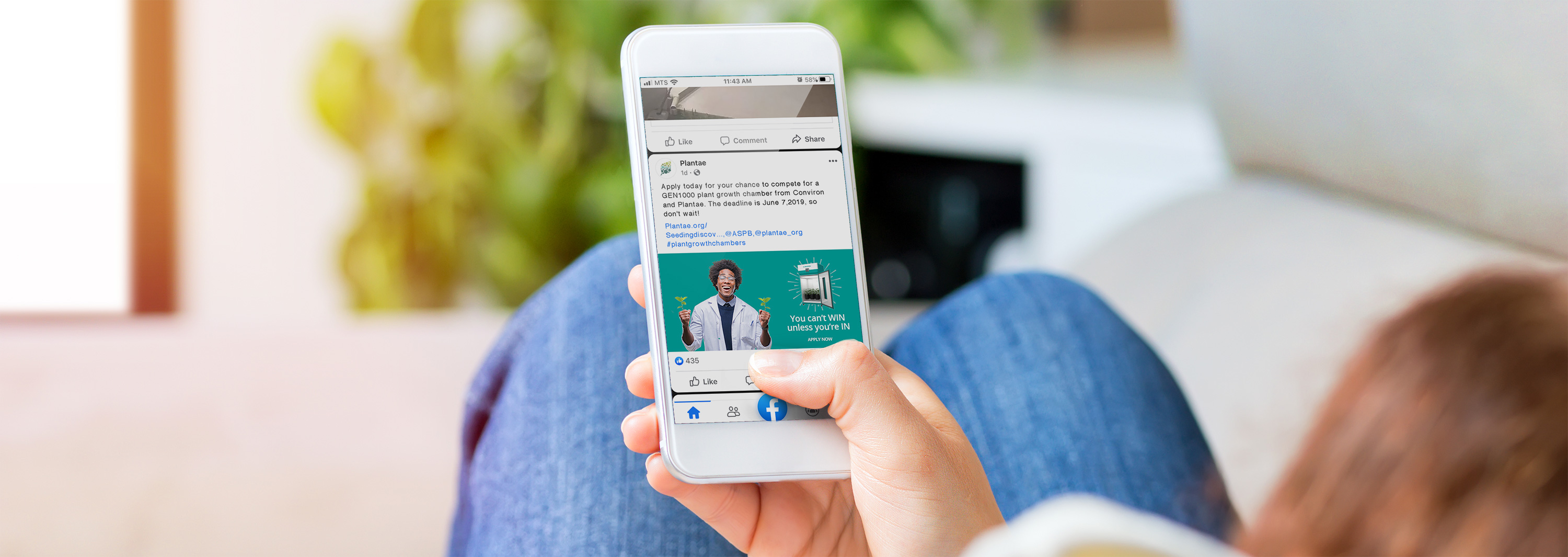 Facebook campaign designed by 6P Marketing for Conviron shown on a mobile device