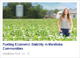 Native ad for Manitoba Pork featuring a future generation hog farmer.
