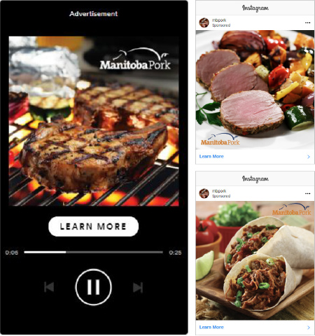Spotify ads and Instagram ads for Manitoba Pork features pork as a healthy and delicious protein.