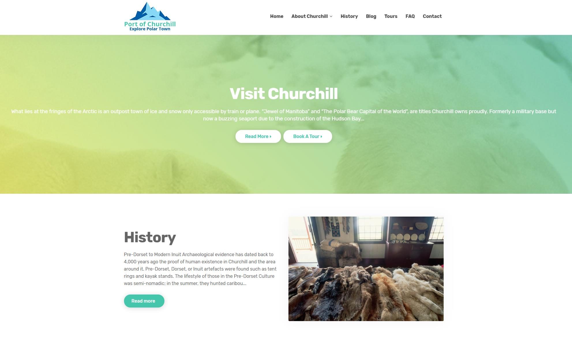 Port of Churchill website designed by 6P Marketing